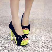 Sexy Color Block Womens Open Toe Platform Stiletto Evening Party Shoes Plus Size