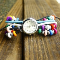 Free shipping wholesale dropship 2013 Hot sale Russia Colourful Bead stainless watches women fashion