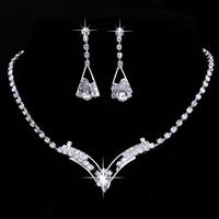 Stylish Silver Plated Rhinestone Leaf Shape Tassel Necklace Earring Set Bridal Party Jewelry