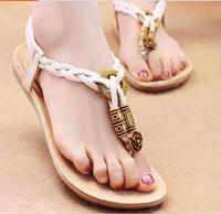 2014  lady flat heel sandal rome bohemian ethnic  style beach  flip flops soft outsole women comfort shoe