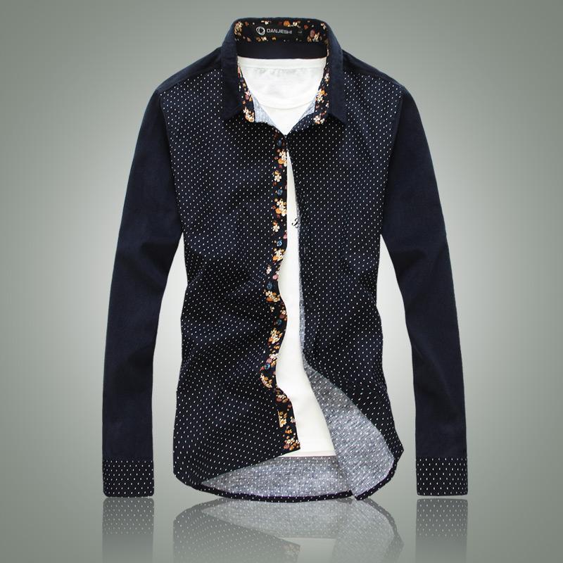 Blue Polka Dot Dress Shirt Dress Shirts Polka Dot