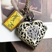 Free shipping wholesale dropship 2013 wedding gift heart shape drink me pendant pocket watch ladies fashion
