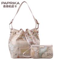 Paprika women's handbag trend one shoulder bucket female bag handbag messenger bag 2014 map pack