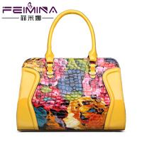 2014 crocodile pattern leather bag japanned leather oil painting print fashion handbag women's handbag women's bag the trend of