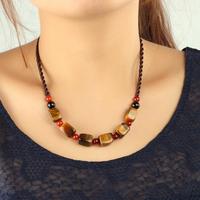 Handmade tibetan jewelry vintage natural crystal tiger eye stones black red agate fashion women choker necklace 2014 new 0296