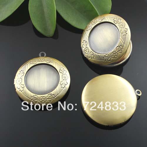 32mm Vintage Antique Bronze Brushed Circle Shape Prayer Wish Box Photo Locket Frame Pendant Bulk Wholesale(China (Mainland))