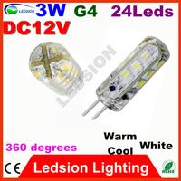 5pcs/lot modern Corn Bulb 12V 24 LED G4 3W SMD 3014 light Cabinet Marine Boat Chandelier Crystal lamp 360 degrees white