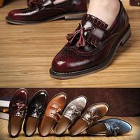 2014 New Fashion Men Bussiness Flats Genuine Leather Men's Classic Shoes 5 Color Wholesale