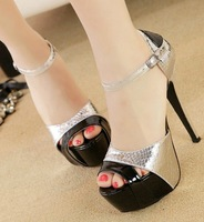 sexy thin high heels platform pumps summer 2014 ladies ankle strap sandals for women party shoes woman fashion buckle GL140486