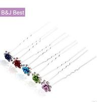 20pcs/lot  Hairpins U-Shaped Clips Flower Hair Pins Rhinestone Wedding Hair Accessories Free Shipping