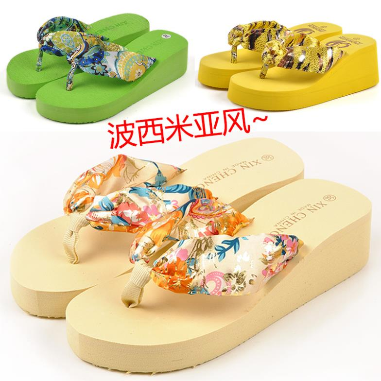 Bohemia silks and satins platform slip-resistant women's wedges platform flip flops beach slippers summer flip(China (Mainland))