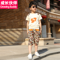 Children's clothing male child short-sleeve sports set child 2014 short-sleeve T-shirt shorts twinset summer