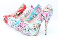 2013 spring and autumn print national trend platform thin heels ultra high heels single cheongsam red wedding shoes size 30-43