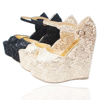2013 paillette lace net fabric wedding  wedges princess women's shoes customize plus size 43 30 small yards