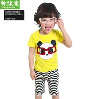 2014 children's clothing male short-sleeve child set print twinset male short-sleeve child set