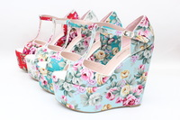 2013 vintage national trend print wedges sandals bohemia plus size 43 small 32 platform