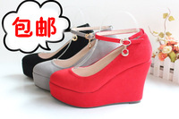 2013 wedding shoes, ultra high heels wedges shoes,red bridal shoes plus size small single shoes platform