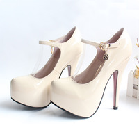 2013 fashion nude ultra high heels platform shoes women's single shoes plus size small 32 43