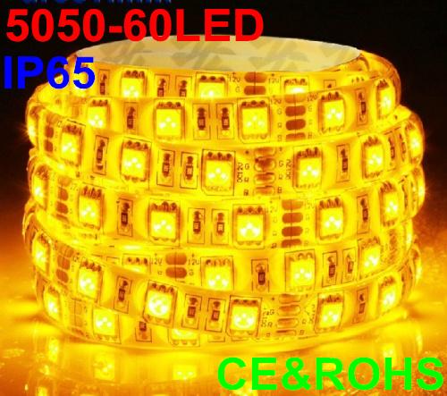 5m 60led/m led strip 5050 SMD waterproof ip65 led ribbon 300LED white/warm whte/yellow/red/green/blue/pink/purple/orange/RGB(China (Mainland))