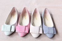 Stripe bow flat single shoes plus size 43 42 shoes small yards shoes 30 - 33 women's shoes