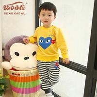 2014 spring children's clothing set 3 baby clothes male child children chiddler set