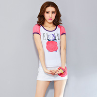 2014 summer women's short-sleeved sports leisure suit foreign trade fashion flowers sweater Free shipping