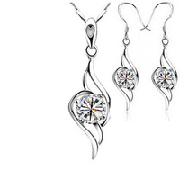 New Arrical,Angel Wing Necklace Earring Set,S925 Sterling Silver Material with Platinum Plated OS14