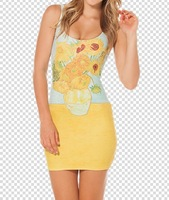RESUN KNITTED NEW Digital print 2014 sunflower vest one-piece New Style Casual Sexy Cheap O-neck  YELLOW COLOR dress Promotion !