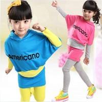 Clothing Sets Children's clothing female child letter batwing sleeve letter basic shirt culottes set md-0783
