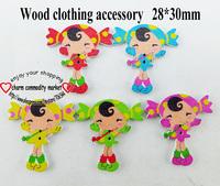 100PCS 5color young girl cartoon wooden buttons diy clothes accessories scrapbook WCF-131