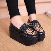 Platform single shoes leopard print 14 female shoes platform shoes female leather HARAJUKU vintage casual shoes black