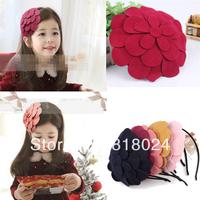 1pc 10 Colors Retail 2014 New Big Felt Flower Baby Girls Hair Accessories Kids Hairbands Hair Bows Headband