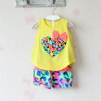 Free Shipping Girls Children set love print female child sleeveless T-shirt and flower shorts new 2014 summer girls clothes