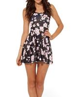 2014 Hot Sale Fashion Women's dress Plum Flower Digital Print Galaxy Black Milk Skater Dress K347
