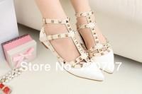 2014 Spring Summer New European Style Women's Rivet Ankle Leather flats BRAND Vale Popular leg slimming women shoes