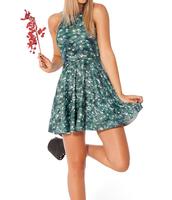 2014 Summer Hot Sale New Fashion Women's Pleated Leaf Digital Print Galaxy Black Milk Dress Big Free Shipping