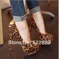 High-heeled shoes 14cm platform leopard print fashion sexy ultra high 2014 autumn single shoes female
