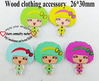100PCS 5color love child cartoon wooden button diy clothes accessories scrapbook WCF-133
