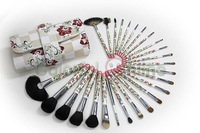 2014 Free shipping New 26 pcs  Professional Makeup Brushes Set w/ Flower Handle Studio Cosmetic Tools Cosmetic brush