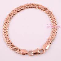 Accessories For Mens Women 6.5mm 18K Gold Filled Rose Bracelet Link Chain Wholesale Retails