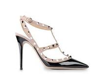 2014New Women Pumps Pointed Toe High Heels Ladies Sexy Rivets Buckle Studded Stiletto High Heel Shoes Woman Sandal Shoes