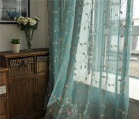 French Country Embroidered Leaves  Blue Sheer Curtain