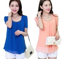 2014 new spring chiffe simple generous korean short sleeve large size plus red green  blue  black lady girl women  dafz041