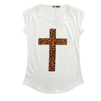 Fashion Basic Tee Women's Summer Short-sleeve O-neck Leopard Cross Print Cotton Modal T-shirt t shirts Tops Shirt 1pcs/lot T6