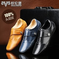 2014 men's spring genuine leather commercial the trend of fashion casual leather shoes male low shoes male