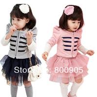 retail children's spring clothing sets , kids girls long-sleeves stripped top tops  + tutu skirt girl 2 pces set