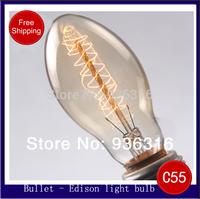 Free shipping EMS E27 C55 40W 220V 100pcs/lot Edison light Bulb retro light bulb filament  transparent wall lamp Chandelier bulb