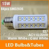 NEW E27 15W LED Bulb 84 Chip SMD 2835 LED Light Corn lamp 110V 220V White/Warm 360 Degree Energy Saving Led Light Free Shipping