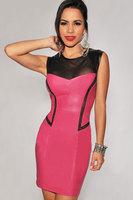 Reticularis dl 2013 unique neckline sexy slim faux leather 2811 one-piece dress