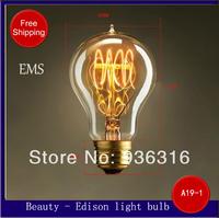 Free shipping EMS E27 A19-1 40W 220V 100pcs/lot Edison light Bulb retro light bulb filament  wall lamp Chandelier bulb